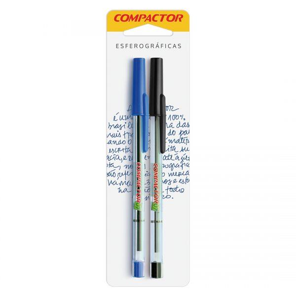 canetas azul e preta compactor