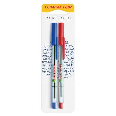 caneta blister azul e vermelha compactor