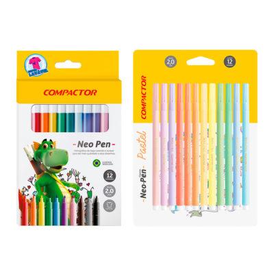 combo embalagem neo pen gigante mais 12 cores pasteis