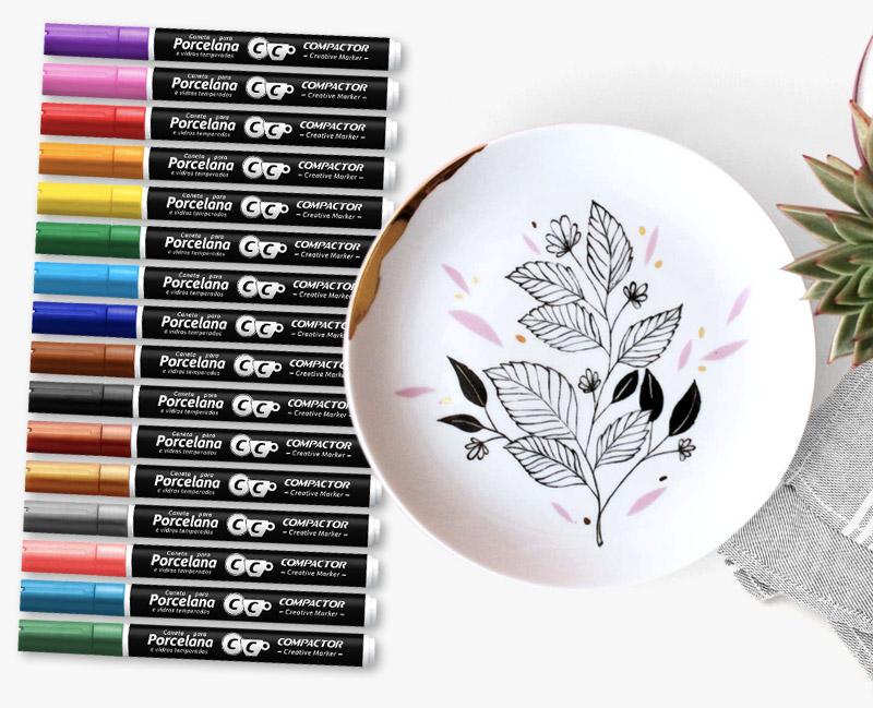 Kit com 16 Canetas para Porcelana Creative Marker Compactor